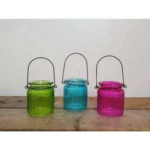 Set of (3) Colorful Hanging Votive Holders